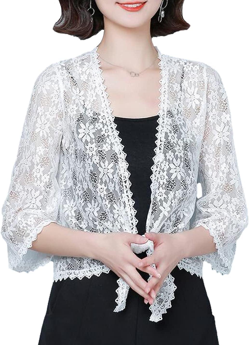 Xishiloft Women's 3/4 Sleeve Lace Crochet Cardigan Cardigan Casual Shrug Sling Top