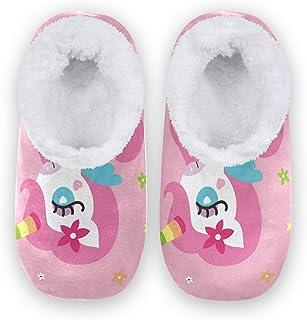 Mnsruu Zapatillas de casa con estampado de flores de unicornio para niña, cómodas, antideslizantes, para mujer, talla 4-5