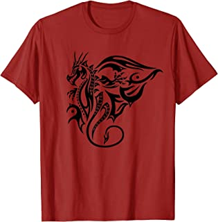 Fantasy Fire Dragon with Wings Shirt. Tribal Tattoo Style.