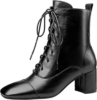 Nine Seven Genuine Leather Women's Square Toe Mid Chunky Heel Handmade Lace Up Or Zip Up Chic Ankle Boots