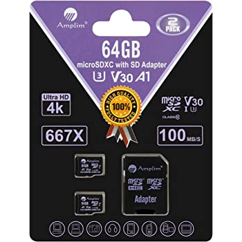Amplim 2-Pack 64GB Micro SD Card Plus Adapter. 2X 64 GB MicroSD SDXC Card 100MB/s V30 A1 U3 C10 UHS-I 4K Video MicroSDXC Memory Card for Cell Phone Nintendo GoPro Camera Galaxy LG Moto DJI Drone Fire