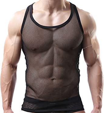 Sexy Men's Underwear Sleeveless Vest Tank Top Mesh Fishnet Undershirt Sleepwear