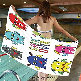 AngelDOU Extra Absorbent Fast Drying Soft Swimming Beach TowelsPixel Robot Emoticons with Game Over Sign Inspired by 90s Computer Games Fun Artprint for Bath Travel Sports Swimming.W19.6xL39.3(inch)