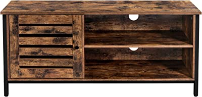VASAGLE TV Cabinet for up to 50-Inch TVs, TV Stand and Console with Louvered Door, 2 Shelves, Living Room, Bedroom, Industrial, Rustic Brown and Black ULTV049B01