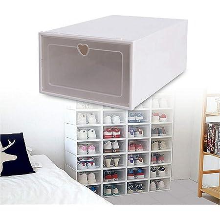 Boîte à Chaussures,Boîtes à Chaussures Empilable,Lot de 20 Boîte de Rangement pour Chaussures en Plastique,Transparent avec Évents,,Pour Chaussures en Cuir,Talons Hauts,Baskets (33 x 23 x 14 cm)