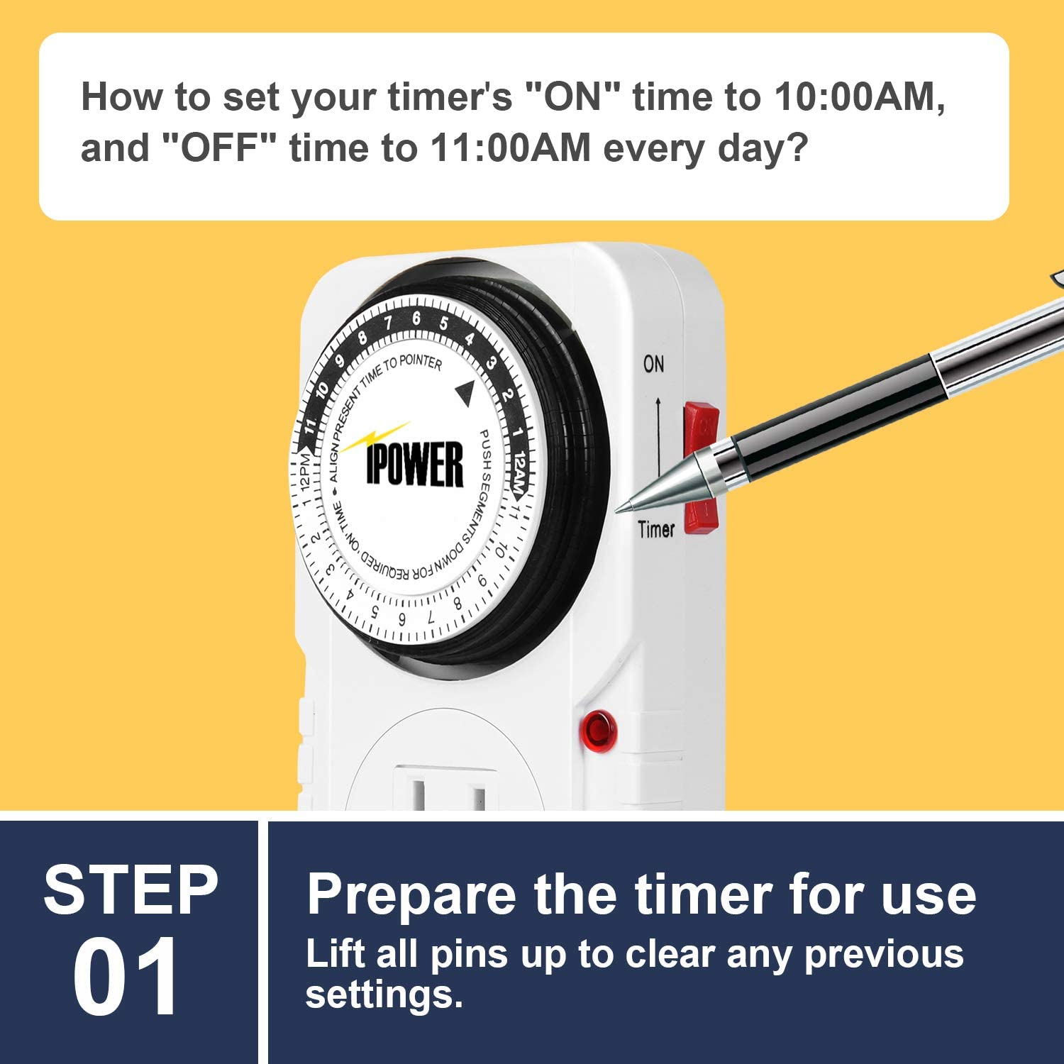 iPower 24 Hour Plug-in Mechanical Electric Outlet Timers Switch Programmable Indoor, Accurate Heavy Duty 3-Prong for Lamps Fans