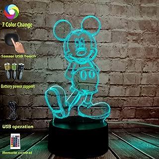 Animal Cartoon Cute Mickey Mouse Body 3D LED Multi Color RGB Bulb Christmas Party Mood Decorative Gift Cartoon Toys Night Light(Standing Mickey)