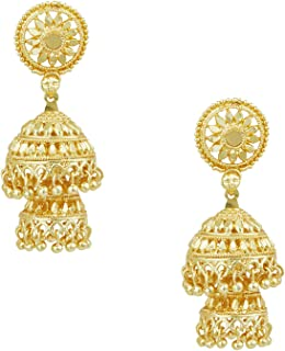 24K Gold Plated Double Layered Chandelier Jhumkas for Women (SJ_1127)