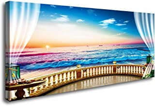 S73750 Canvas Wall Art Window View Beach Sunset Ocean Waves Nature Pictures Stretched Canvas Wooden Framed for Living Room Bedroom and Office