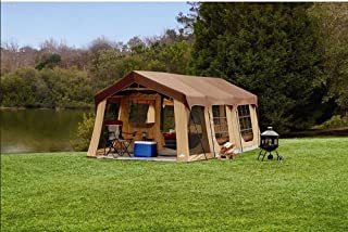 Large 10 Person Family Cabin Tent w/Front Porch, Room Divider and Rear Door. Great for Family, Guest, or Any Outdoor Sport Adventure Camping.