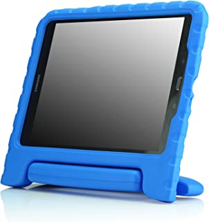 MoKo Samsung Galaxy Tab A 9.7 Case - Kids Shock Proof Convertible Handle Super Protective Stand Cover Case for 2015 Galaxy Tab A Tablet 9.7 inch (SM-T550 / P550), Blue (with S-Pen Opening)