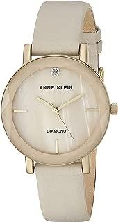 Women's Genuine Diamond Dial Leather Strap Watch