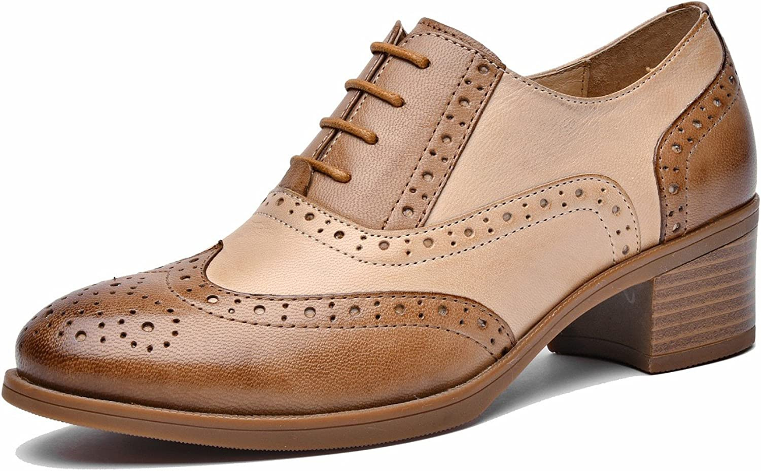 U-lite Women's Mid-Heel Multicolor Perforated Lace-up Wingtip Leather Flat Oxfords Vintage Oxford shoes