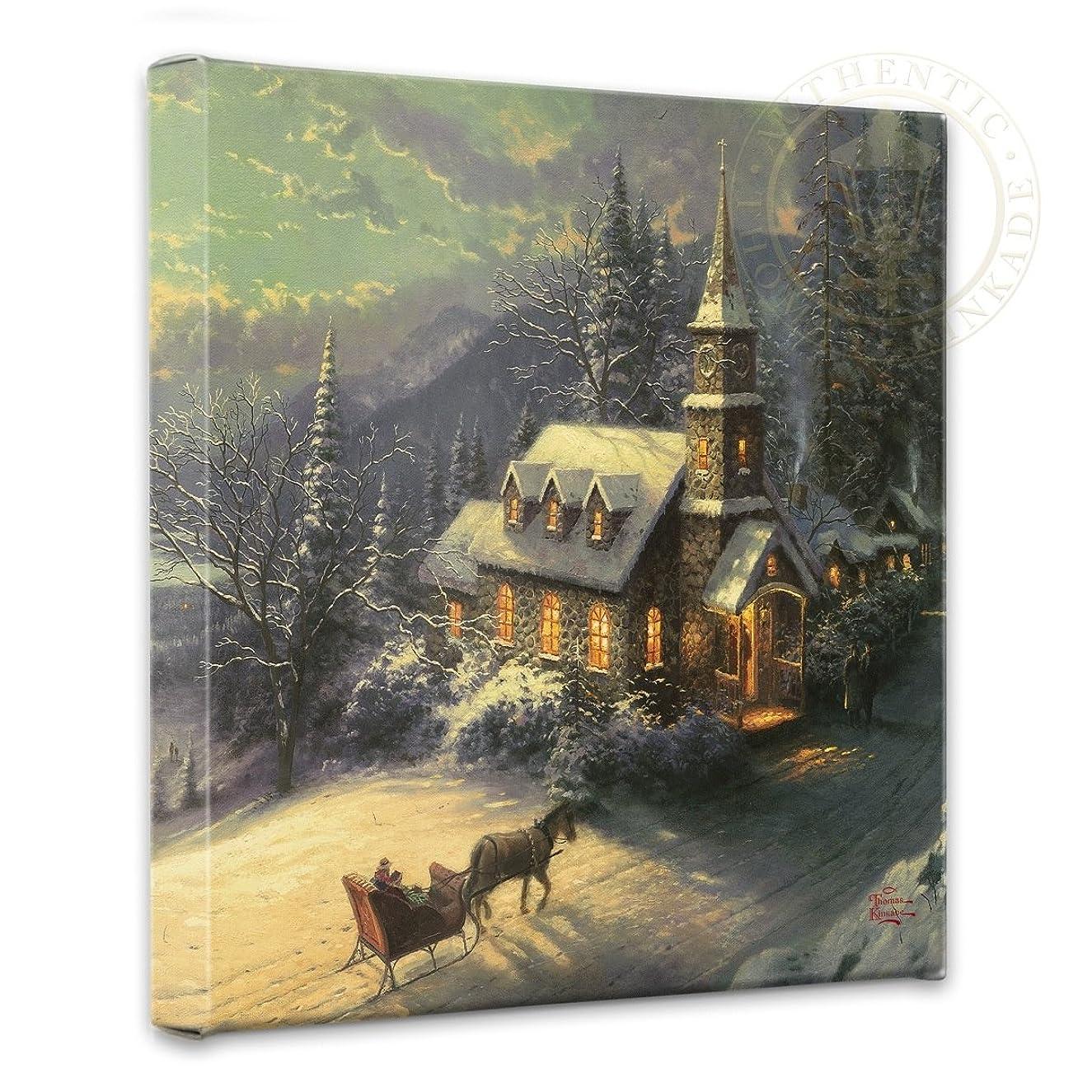 Thomas Kinkade Sunday Evening Sleigh Ride 14 x 14 Gallery Wrapped Canvas