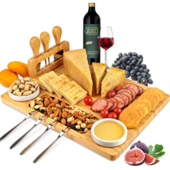 ROYAMY Bamboo Cheese Board Set with 3 Stainless Steel Knife, Meat Charcuterie Platter Serving Tray, Perfect Choice for Wedding Birthdays Christmas Anniversary Housewarming Kitchen Personalized Gift