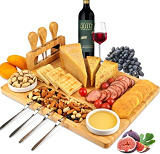 ROYAMY Bamboo Cheese Board Set with 3 Stainless Steel Knife, Meat Charcuterie Platter Serving Tray, Perfect Choice for Wed...