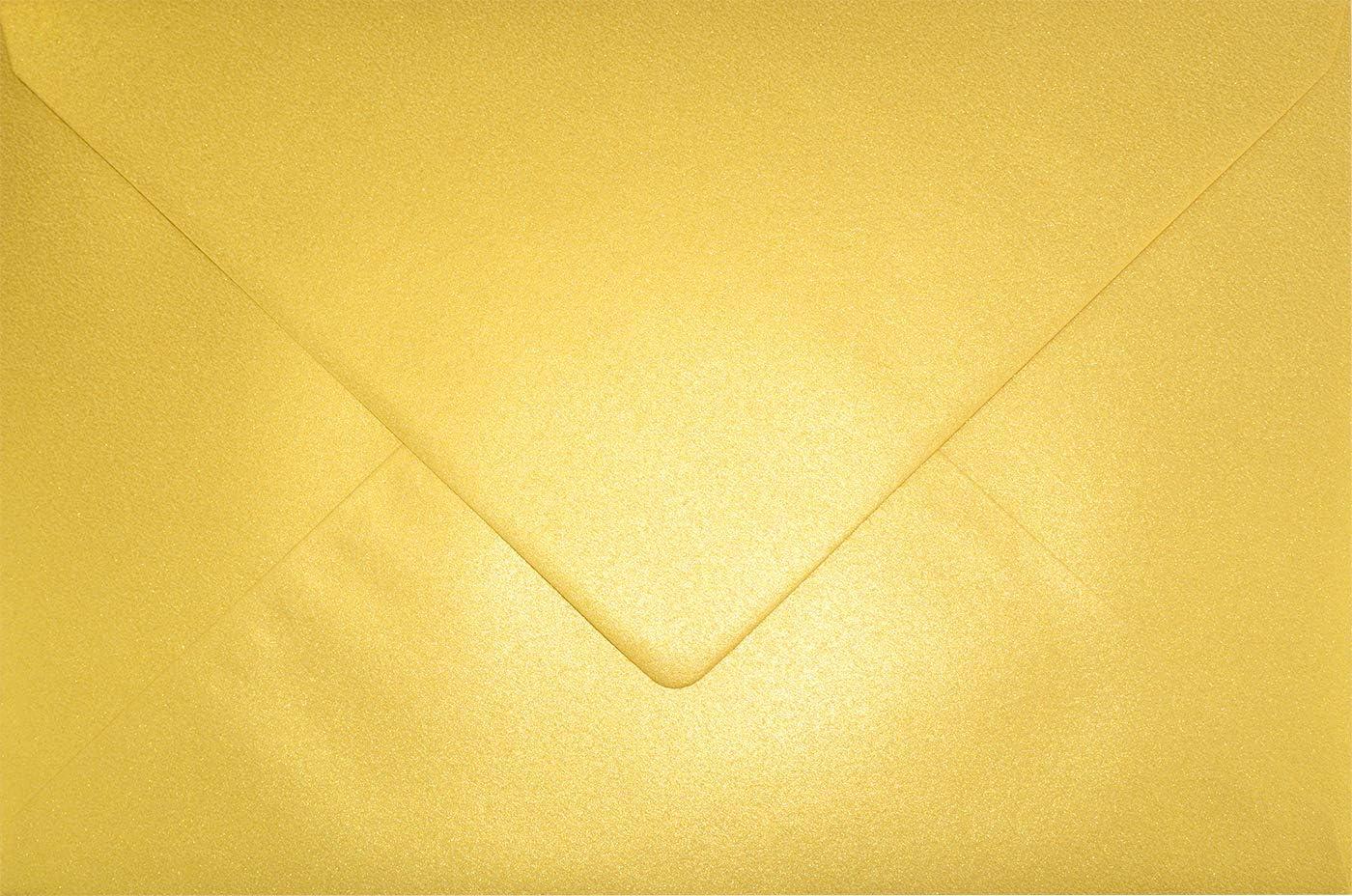 Nassklebung 10x DIN C5 Kuverts 15,7 x 22,5 cm in Altrosa Blanko Brief-Umschl/äge Rosa mit goldenem Seidenfutter Marke: Gustav NEUSER/® Post-Umschl/äge ohne Fenster im C5 Format
