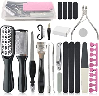 Pedicure Set, 23pcs Set of Pedicure Tools Stainless Steel Foot File for Exfoliating and Calluses Cuticle Skin Care Tool Se...