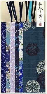 【Amazon.co.jp 限定】和紙かわ澄 友禅和紙 型染め しおり ブックマーカー 6枚入 青色系Bセット