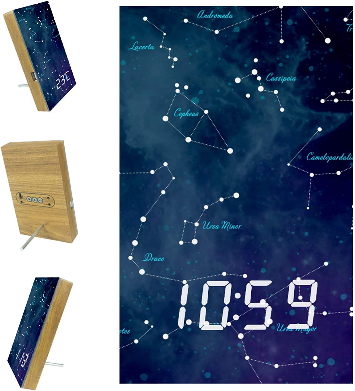 Digital Alarm Clock Sky Map Free shipping anywhere in the nation Astronomy Constellations Bedroom for San Francisco Mall