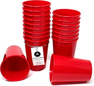 Rolling Sands 12 Ounce Reusable Plastic Kids Cups Red (Set of 18, Made in USA, BPA-Free) Dishwasher Safe