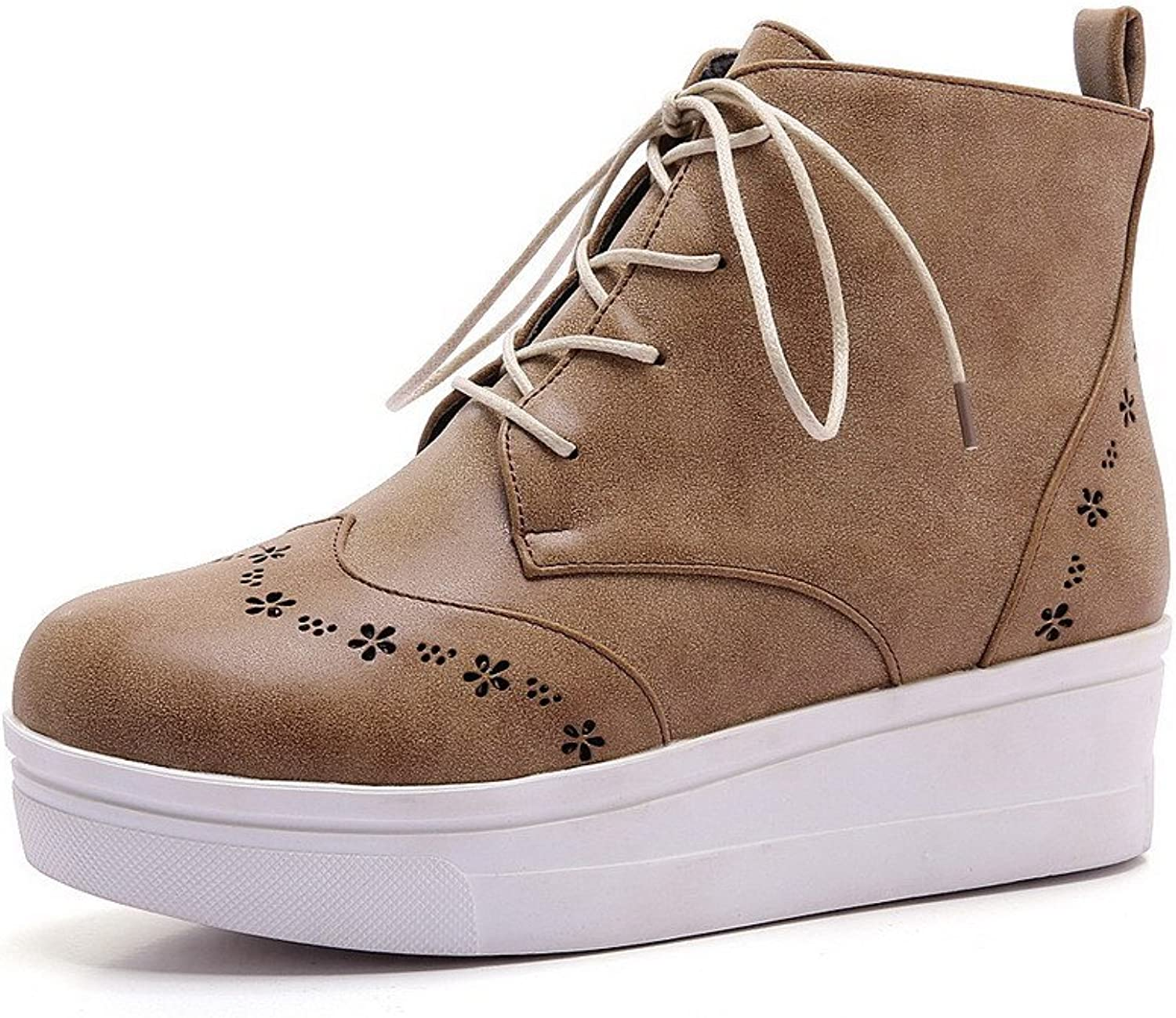 WeiPoot Women's Lace up Round Closed Toe Low Heels Pu Solid Boots