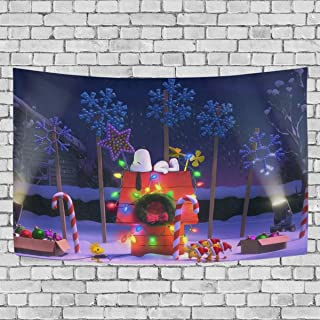 FASHIONDIY Snoopy Christmas House Roof Sleeping Tapestry Wall Hanging Decoration for Apartment Home Art Wall Tapestry for Bedroom Living Room Dorm Fashion 60 x 51 inches