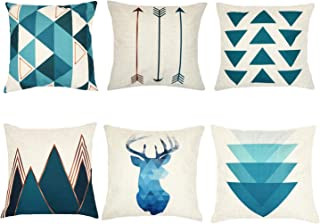 Munzong Modern Simple Geometric Style Soft Linen Burlap Square Throw Pillow Covers 18 x 18 Inch Set of 6, Cotton Linen Outdoor Cushion Cover Square Pillowcase for Car Sofa Bed Couch Home Decor Gift
