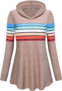 MOQIVGI Womens Sweatshirts Long Sleeve Fashion Casual Colorful Striped Pullover Hoodies