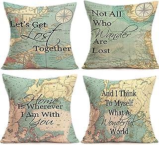 YANGYULU Pack of 4 Decorative Blue Ocean Theme Throw Pillow Covers Cotton Linen Cushion Cover Pillowcase for Sofa Car Offi...