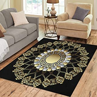 Semtomn Area Rug 5' X 7' Greek Floral 3D Round Mandala Pattern Abstract Lace Ornamental Home Decor Collection Floor Rugs Carpet for Living Room Bedroom Dining Room