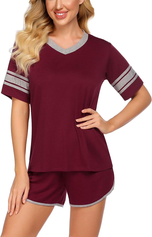 ADOME Women's V-Neck Pajama Set Short Sleeve Sleepwear S-XXL