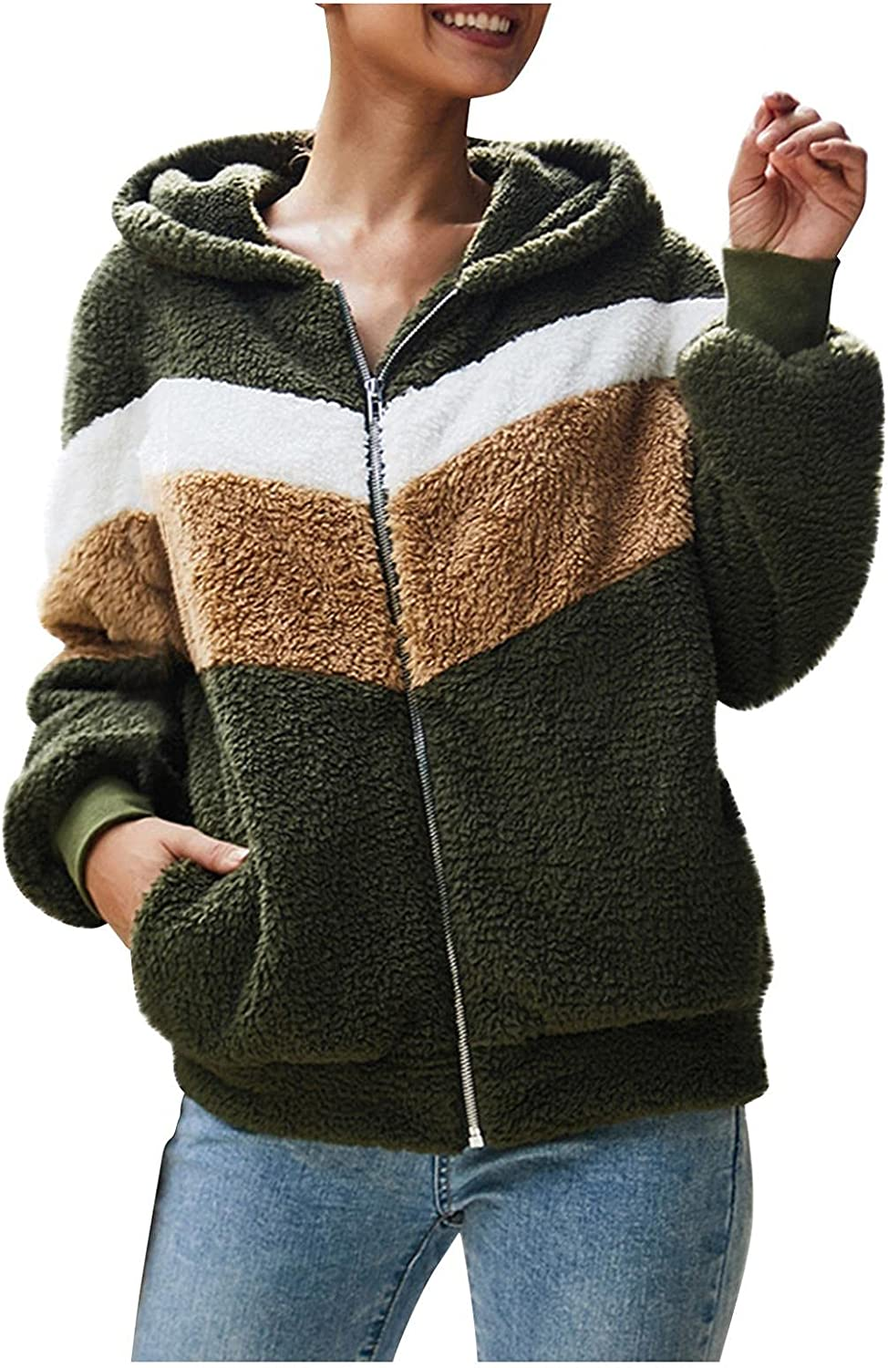 Women's Color Block Cardigan Jacket with Pockets Warm Plush Fuzzy Faux Shearling Winter Coat Zip Up Bomber Outwear