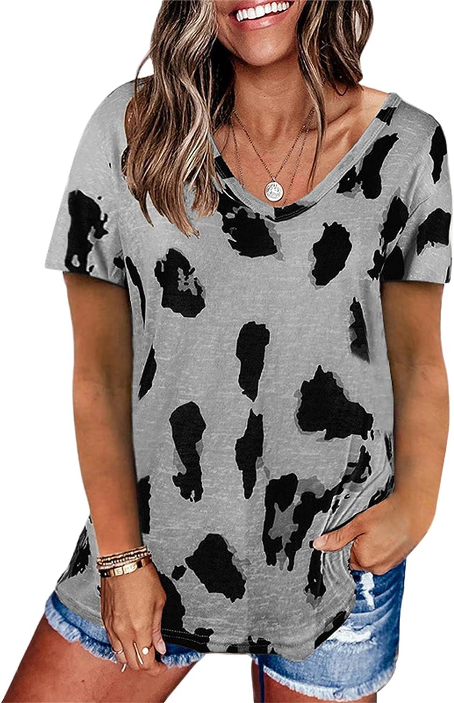 Andongnywell Women's Summer Leopard Print Shirts Casual Loose V Neck Tunic Short Sleeve T-Shirts Tops Tunics (Gray,5,XX-Large)