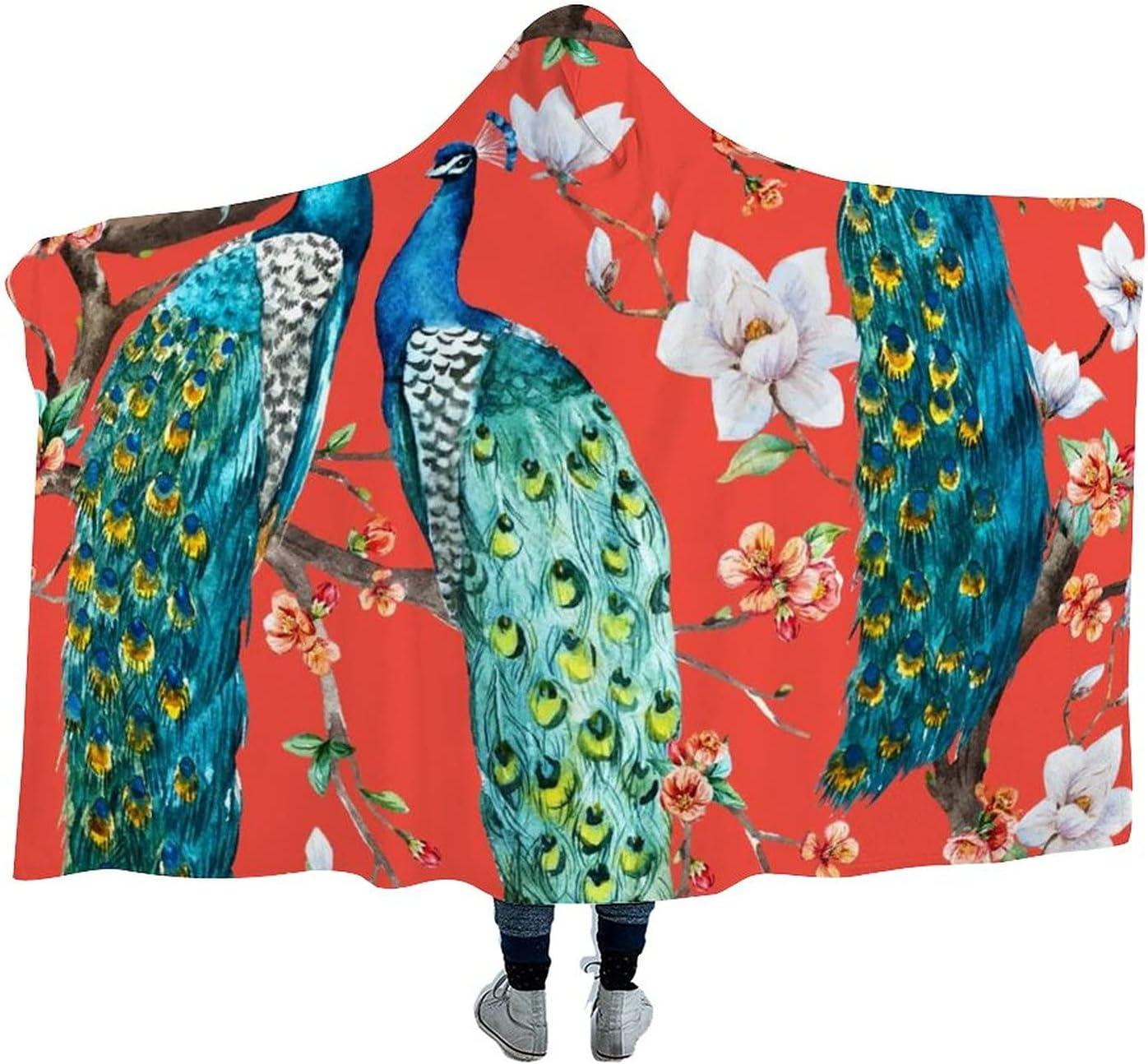 Peacock Wearable Genuine Velvet Hooded Throw Blanket Du Super Warm Max 51% OFF Soft
