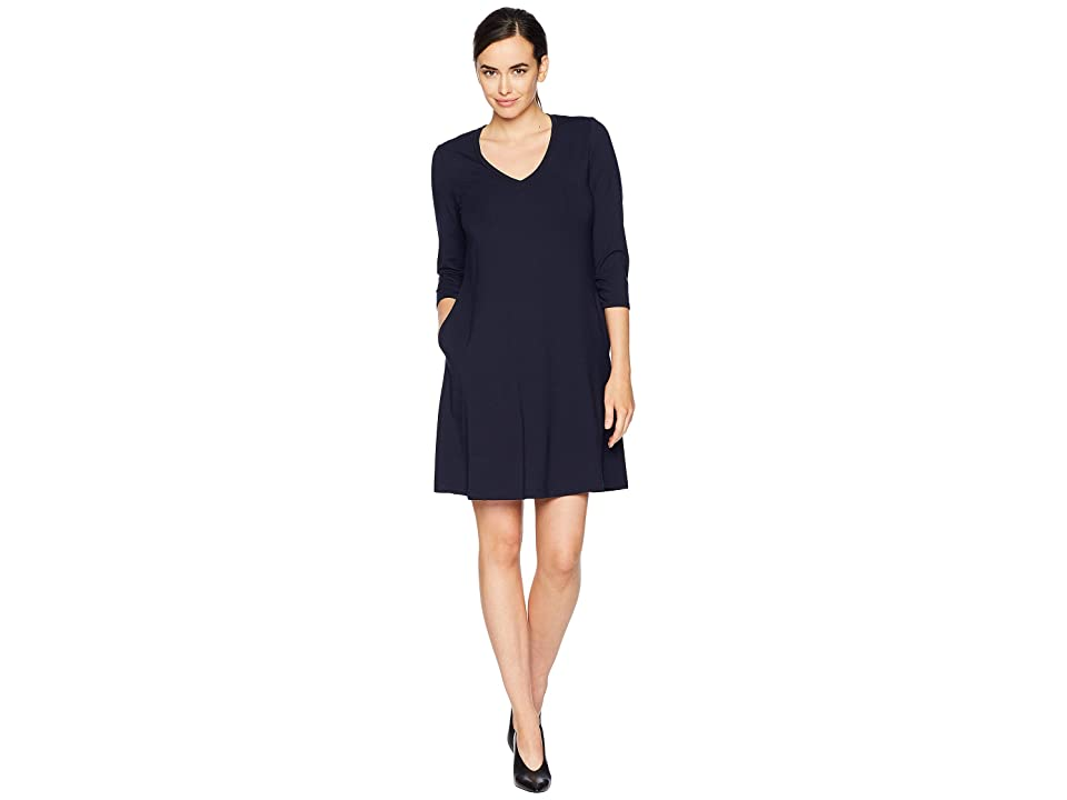 Karen Kane Quinn 3/4 Sleeve Pocket Dress (Navy) Women