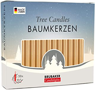 BRUBAKER Tree Candles - Pack of 20 - Golden - 9.5cm - Pyramids & Chimes