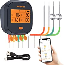 Inkbird WiFi Grill Thermometer IBBQ-4T, Rechargeable Wireless BBQ Thermometer with 4..