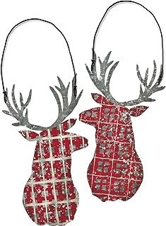 Red Gingham Metal Deer Christmas Ornament Set, Primitive Plaid Lodge Cabin Decor