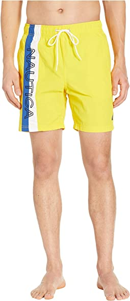 Surf Washed Color Block Swim Trunks