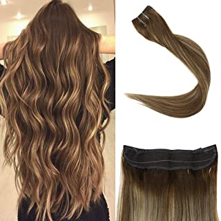Full Shine 12 inch Halo Remy Human Hair Extensions Balayage Color #4 Dark Brown Fading to Color #24 Blonde and Color #4 Halo Extensions Invisible Fish Wire 70 Grams Per Pack Brand Name: Full Shine