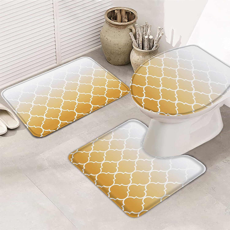 Queenker Phoenix Mall 3 Pieces Bath Rug Set Yellow Cover Seat Toilet price Gradient