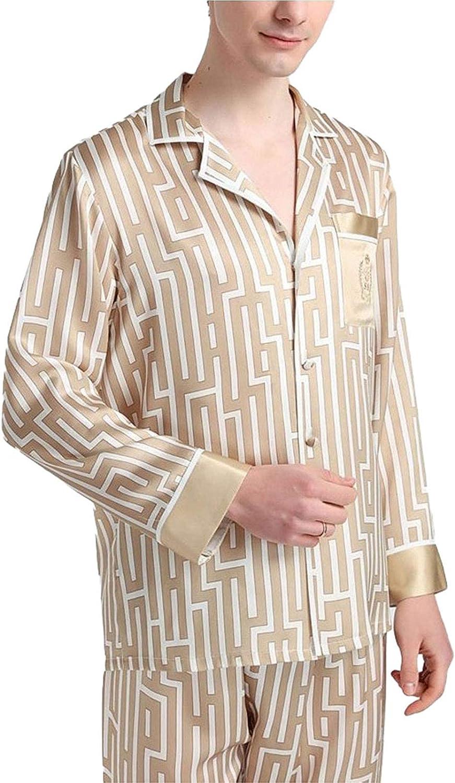 FMOGG Men Pjs Pajama Set Silk Loungewear Nightwear Sleepwear Long Sleeve Top & Bottoms Outfits,100% Pure Silk