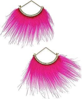Betsey Johnson xox Trolls Faux-Fur Fan Earrings, Pink & Gold-Tone