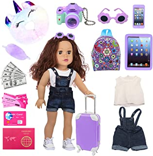 dudubell 18 Inch Doll Accessories Travel Gear Play Set, Including Suitcase Luggage, Clothes, Sunglasses, Camera, Pad, Fit ...