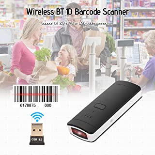 Barcode Scanner Wireless,Benkeg Portable Mini Wireless BT Barcode Scanner 1D Handheld Bar Code Reader with USB Cable Recei...