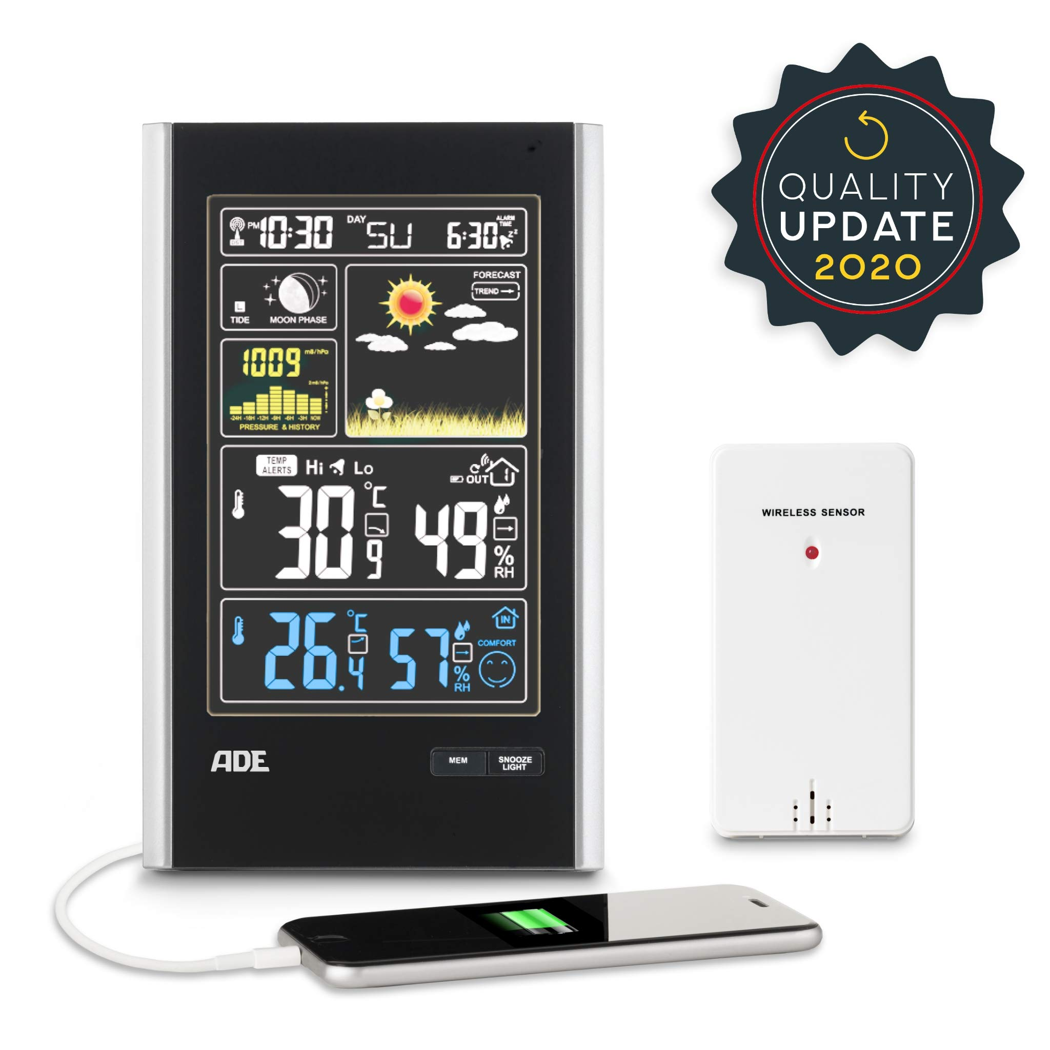 ADE Estación meteorológica digital con radio-reloj-alarma y sensor ...