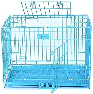 RvPaws Powder Coated Iron Cage with Removable Tray for Dog (36-inch, Large Blue)…