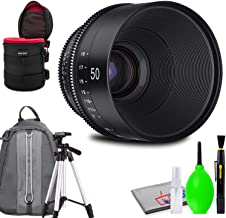 Rokinon Xeen 50mm T1.5 Lens for PL Mount Bundled with Potective Case, Padded Backpack, Tripod and Cleaning Kit