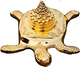 STYLE OK Brass Meru Shree Yantra with Tortoise for Good Luck, Success and Prosperity (Gold, 3 x 2 Inch)